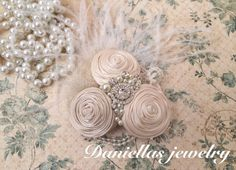 Champagne and Ivory  Vintage Clip/Vintage by Daniellasjewels, $29.95