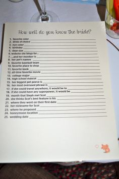 Hen's party quiz