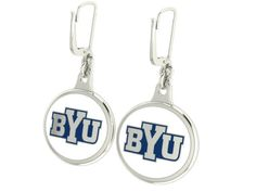 """High Quality Brigham Young Cougars collegiate jewelry and earrings using sterling silver and durable enamel. Double sided earring showing the """"Y"""" on one side, and BYU on the other side. $99"""