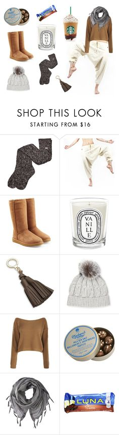 """Denver"" by buddhapants ❤ liked on Polyvore featuring UGG, Diptyque, Kate Spade, Sofiacashmere, Boohoo, Charbonnel et Walker, Love Quotes Scarves, denver, Cozywear and buddhapants"