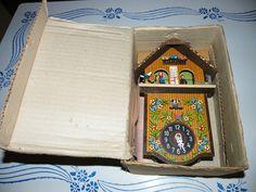 Vintage Toggili Weather House Cuckoo Clock Chalet West Germany in Original Box.