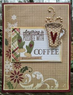 Handmade holiday coffee themed cardby Jennie using the Coffee stamp set from Verve.  #vervestamps