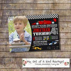 Racecar birthday invitation race car party kids race cars chalkboard auto racing photo invite digital printable invitation 13935 by myooakboutique on Etsy