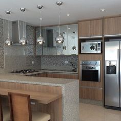 Open Plan Kitchen Living Room, Kitchen Room Design, Home Room Design, Studio Kitchen, Modern Kitchen Design, Home Decor Kitchen, Interior Design Kitchen, Kitchen Furniture, Modern Kitchen Interiors