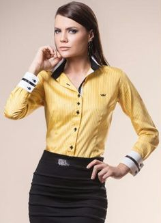Camisa Feminina Manga Longa Amarela Principessa - Principessa Camisaria d50e5b2c02ddc