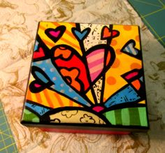 Pintada a mano Pottery Painting, Fabric Painting, Painting On Wood, Painted Wooden Boxes, Hand Painted, Remembrance Day Art, Decoupage, Funky Art, Diy Canvas Art