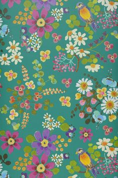 £39.78 Price per roll (per m2 £7.65), Floral wallpaper, Carrier material: Non-woven wallpaper, Surface: Smooth, Look: Matt, Design: Birds, Branches with leaves and blossoms, Basic colour: Turquoise, Pattern colour: Blue lilac, Yellow green, Light blue, Honey yellow, Violet, Characteristics: Good lightfastness, Low flammability, Strippable, Paste the wall, Wash-resistant