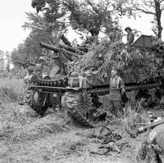 A battery of M7 Priest 105mm self-propelled guns from one of the 3rd Division's Royal Artillery Field Regiments near Hermanville-sur-Mer, 6th June 1944.