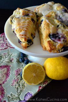 Just made these they're absolutely delish!!!!!!   Blueberry Scones with Lemon Glaze - Katie's Cucina | Katie's Cucina