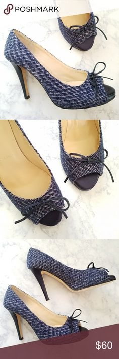 Butter Shoes Peep Toe Tweed Bow Heels Butter Shoes. Women's 8.5. Peep-toe pumps. Dainty bow detail at each toe. Tweed fabric upper. Blue (with a hint of purple) Leather heel and sole. Lightly cushioned insole. Excellent condition! Butter Shoes Shoes Heels