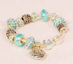 Tturquoise glitter Pandora Style bracelet helenkagood.livem...