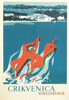 #Vintage #Travel #Poster #Crikvenica #Yugoslavia (Croatia)