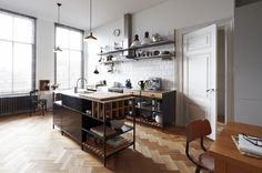Industrial kitchen design ideas photo of worthy industrial kitchen design ideas of goodly outstanding remodelling – Home decorating tips and ideas Herringbone Wooden Floors, Freestanding Kitchen, Home, Home Kitchens, Kitchen Remodel, Kitchen Design, Kitchen Inspirations, Kitchen Dining Room, Kitchen Interior