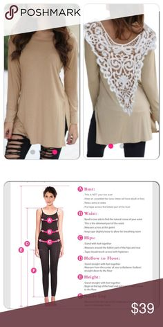 #Poshlovefest HPBeige top with crochet Back Really cute casual yet dressy top! Fits sizes 8-10. Or bust 36-38 1/4, waist 29-31 1/4, hips 39-41 inches. Photo provided for measurements. Shirt is about 32 inches long from shoulder to the bottom while lying flat Tops Tunics