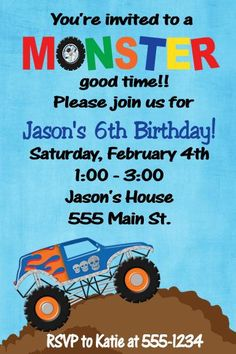 Free Monster Truck Invitation Template Unique Items Similar to Monster Truck Birthday Invitations On Etsy First Birthday Balloons, 6th Birthday Parties, Sons Birthday, Third Birthday, Birthday Bash, Birthday Ideas, Monster Truck Birthday, Monster Trucks, Free Printable Birthday Invitations
