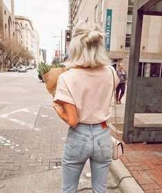 blush tee and mom jeans