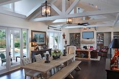 Modern Cottage Living Room Design, Pictures, Remodel, Decor and Ideas - page - Cazoz Diy Home Decor Cottage Living Rooms, Coastal Living Rooms, Kitchen Living, Open Kitchen, Modern Rustic Homes, Modern Decor, Modern Cottage, Modern Coastal, Rustic Decor