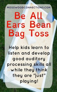 Be All Ears Bean bag Toss auditory processing activity Help kids learn to listen and develop good auditory processing skills through play Listening Activities For Kids, Listening Games, Active Listening, Listening Skills, Sensory Activities, Kids Learning, Learning Spanish, Bean Bag Activities, Speech Activities