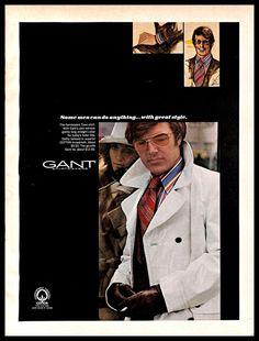 02a1c6e496e4e5 1970 Gant Shirtmakers  Vintage  PRINT  AD Men s  Fashion  Clothing Colorful   Shirt  Gant
