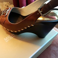 Michael Kors Hamilton Platform Wedge???? Beautiful Michael  Kors Hamilton Platform Wedge with peeptoe. Has gold hardware to compliment  the luggage color. Brand New!!!!! Michael Kors Shoes Sandals