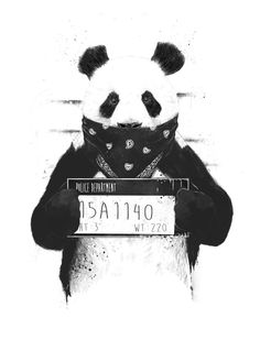"Trademark Art ""Bad Panda"" by Balazs Solti Graphic Art on Wrapped Canvas Size: Bd Design, Panda Pillow, Arte Dope, Poster Mural, Panda Wallpapers, Panda Wallpaper Iphone, Phone Wallpapers, Painting Prints, Art Prints"