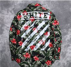 OFF WHITE STRIPE KANYE WEST VIRGIL FLOWER GREEN PRINT LONG SLEEVED SHIRT #kanyewestoutfits #urbanfashion #urbanoutfit #offwhiteoutfits #offwhite #flower #flowerprintedshirts #shirts