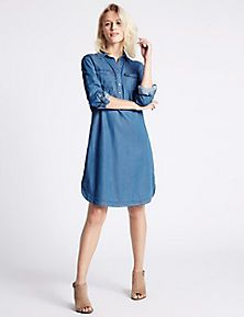 Denim Tencel 2 Pocket Dress