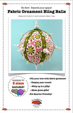 Bling Balls Fabric Christmas Ornament Pattern cover