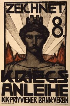 Zeichnet 8. Kriegsanleihe. #Poster shows head of a goddess(?) wearing a crown in the shape of a castle or fort. Text: Subscribe to the 8th War Loan. K.K. Priv. Wiener Bank Verein. $31.99. On VintPrint.com. #war #wwi #propaganda