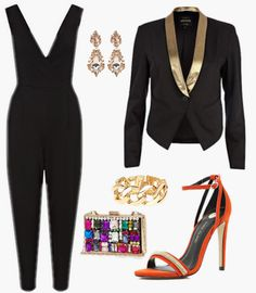 A formal black and gold look for a fancy yacht party! Styled by Shanelle on  WiShi.me (where friends style friends for upcoming events) Follow our styling boards for all the inspiration you need for any event!
