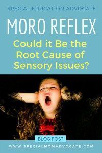 Does Moro Reflex Cause Sensory Processing Disorder? Doing Rhythmic Movement Training to integrate this reflex can create calm and reduce anxiety. #mororeflex #primaryreflex #spd #sensoryprocessing #specialneeds #autism #adhd