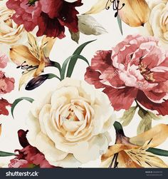 Seamless Floral Pattern With Roses, Watercolor. Vector Illustration. - 282689729 : Shutterstock