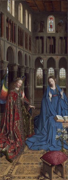 Jan van Eyck, Annunciatie, ca. 1430-1435.  The 7 beams of light!  The lily!  The rainbow wings!  Killing me with symbolism and beauty.