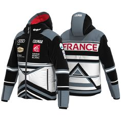 Ski jacket, that will be worn by the athletes of the French Ski Federation, in waterproof (15,000 mm) and breathable (15,000 gr/m2/24) mechanical stretch fabric printed on the panel with an exclusive pattern placed on polyester 100% recycled. Inside, a soft recycled polyester lining and Thermore Ecodown padding with 100% post-consumer recycle fibers provide the right degree of warmth. Team Jackets, Ski Racing, Ski Wear, Stretch Fabric, Athletes, Printing On Fabric, Motorcycle Jacket, Skiing, French