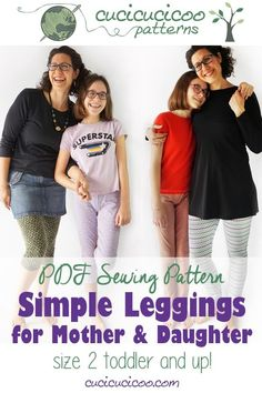 Use the Simple Leggings sewing pattern for ladies and girls bundle to sew leggings for every gal you know! 23 sizes with options for 3 lengths and 2 waist heights for the perfect leggings for each girl or woman and every season of the year! Easy Sewing Patterns, Easy Sewing Projects, Sewing Projects For Beginners, Sewing Tutorials, Pattern Sewing, Pdf Patterns, Fall Sewing, Love Sewing, Handmade Clothes