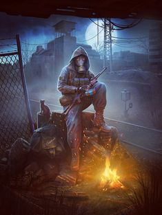 Stalker in Chernobyl Apocalypse Aesthetic, Apocalypse Art, Apocalypse Survival, Post Apocalyptic Art, Apocalyptic Clothing, Military Drawings, Environment Concept Art, Chernobyl, Fanarts Anime