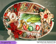 Oval shaped Christmas card using a House Mouse Design stamp.