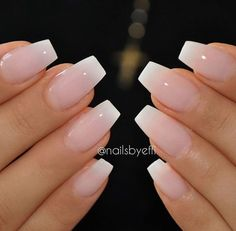 Best Ideas About Ombre Nails Art Design 63 Best Acrylic Nails, Faded French Manicure, French Fade Nails, French Manicure Acrylic Nails, Nail French, Acrylic Nails Coffin Short, Short French Tip Nails, Ombre French Tips, Acrylic Nails Coffin Ombre