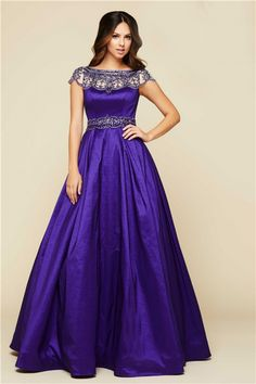 Modest Ball Gown Bateau Neck Cap Sleeve Purple Taffeta Beaded Prom Dress
