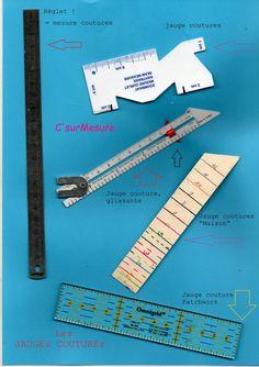 des petites regles pour mesurer les valeurs de coutures, ourlets, petites pieces,...