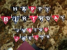 Happy Birthday banner made out of squares of felt with the letters hot pressed on them. Hang it from jute with clothes pins.