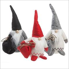 "Felt Nisse with Sack are 11.5"" tall, in Black, Gray or Red - $18 each from Danish Musuem in Elk Horn, Iowa.  Made in Denmark"