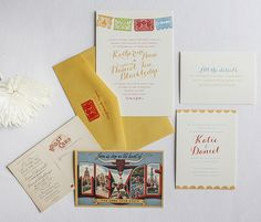 "This is wayyyyyy more ""Me"" than you---Vintage kitschy wedding invite w/ fiesta theme and Texas postcard."