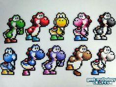 Yoshi Super Mario World 2 Perler Bead Sprite Decorations by Geek Mythology Crafts Hama Beads Mario, Perler Beads, Fuse Beads, Pearler Bead Patterns, Perler Patterns, Super Mario, Filet Crochet, Modele Pixel Art, Pixel Beads