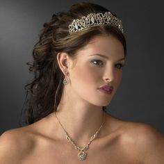 Opentip.com: Elegance by Carbonneau hp-9829-gold Majestic Gold Clear Crystal Tiara Headpiece 9829