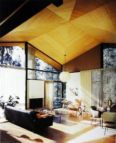 Wood ceiling.  Booth Residence - smith williams - beverly hills - 1955 - julius shulman -