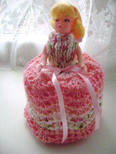 Retro Kitsch Crochet Doll Toilet Roll Holder Shabby Chic