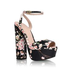 Cherry Blossom Print - hero black high heel sandals from KG Kurt Geiger Black Strappy Shoes, Black Block Heel Sandals, Chunky Heel Shoes, Strappy Sandals Heels, Black High Heels, Strap Heels, Black Sandals, Strap Sandals, Chunky Sandals