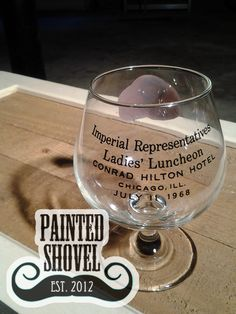 Vintage 1968 Imperial Representatives Ladies Luncheon commemorative glass for sale at Painted Shovel in Avondale, AL.