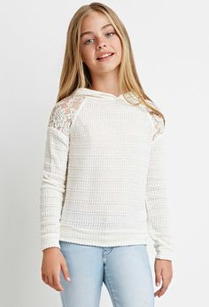 Girls Lace-Paneled Sweater Hoodie (Kids) | Forever 21 girls - 2000140601